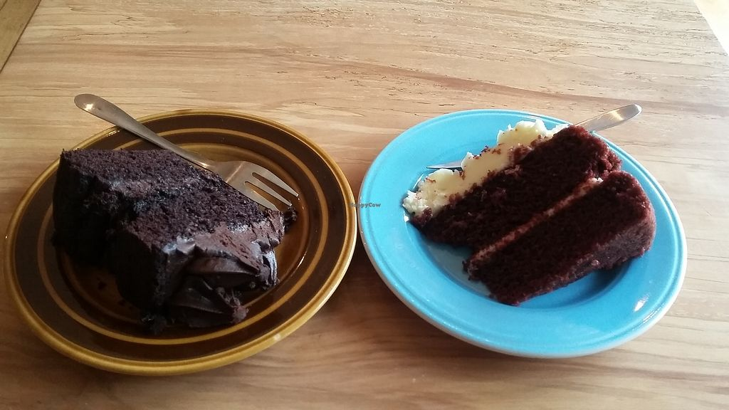 """Photo of Shoe Tree Cafe  by <a href=""""/members/profile/deadpledge"""">deadpledge</a> <br/>Red velvet cake and chocolate cake <br/> April 13, 2018  - <a href='/contact/abuse/image/102296/385180'>Report</a>"""