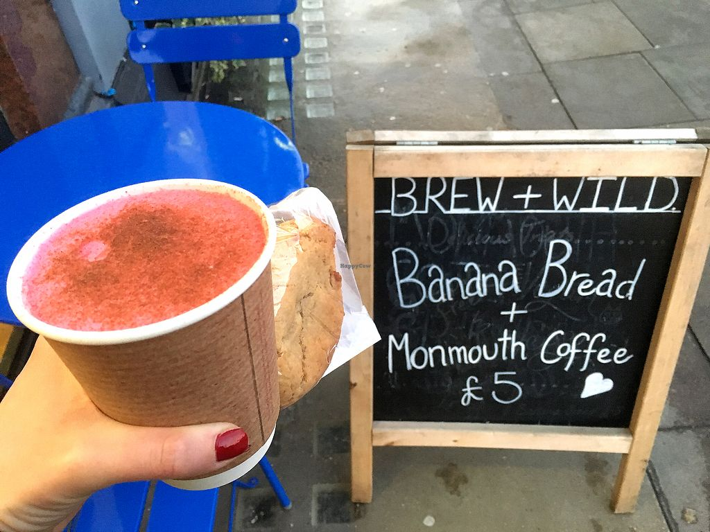 """Photo of Brew + Wild  by <a href=""""/members/profile/FitPanda"""">FitPanda</a> <br/>Beetroot latte & peanut butter cookie <br/> December 18, 2017  - <a href='/contact/abuse/image/102319/337008'>Report</a>"""
