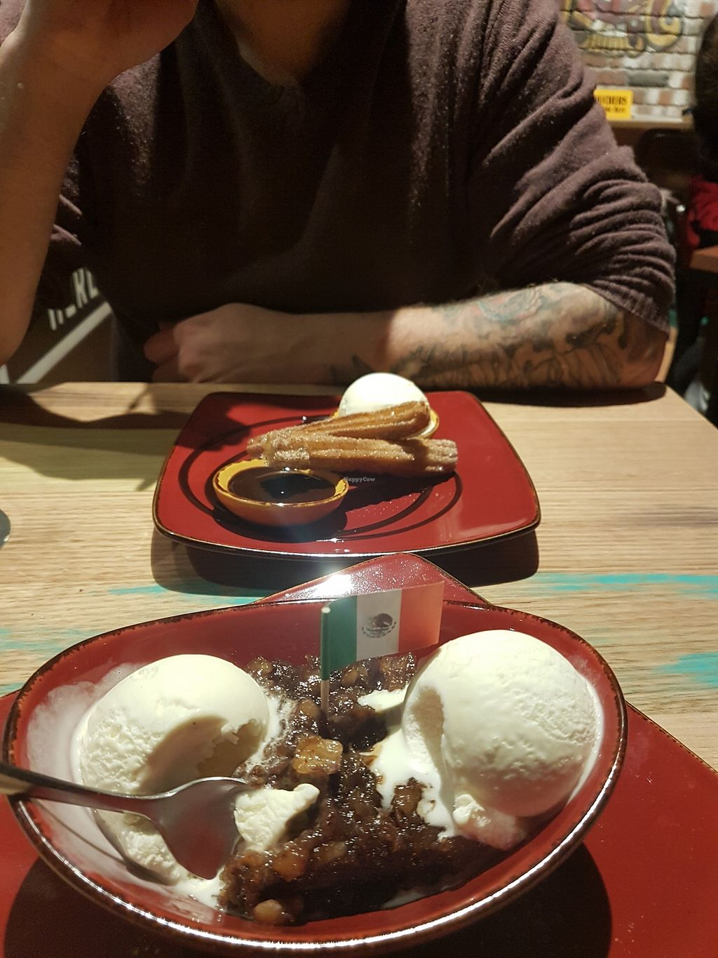 """Photo of Montezuma's  by <a href=""""/members/profile/ChristineOrdner"""">ChristineOrdner</a> <br/>Vegan sticky date pudding with soy vanilla ice cream + vegan churros! <br/> October 6, 2017  - <a href='/contact/abuse/image/102415/312483'>Report</a>"""