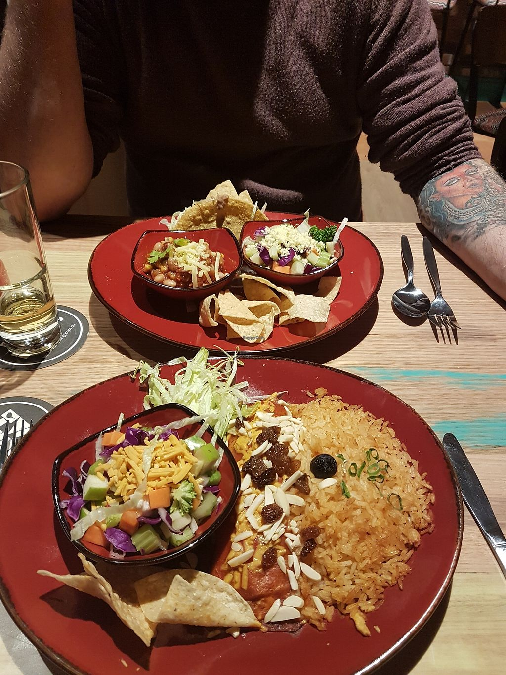 """Photo of Montezuma's  by <a href=""""/members/profile/ChristineOrdner"""">ChristineOrdner</a> <br/>Vegan picadillo enchiladas served with salad and rice <br/> October 6, 2017  - <a href='/contact/abuse/image/102415/312484'>Report</a>"""