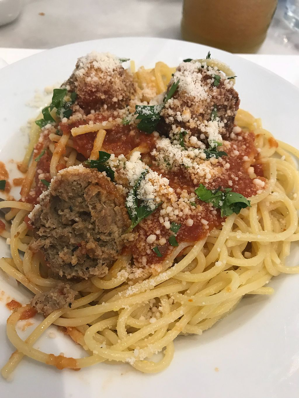 """Photo of Kafenion  by <a href=""""/members/profile/Inga75"""">Inga75</a> <br/>Awesome, flavoursome spaghetti with meatless balls n vegan parmesan <br/> March 29, 2018  - <a href='/contact/abuse/image/102490/377551'>Report</a>"""
