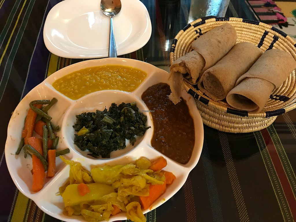 """Photo of Sara Ethiopian Restaurant  by <a href=""""/members/profile/LoganG"""">LoganG</a> <br/>Vegan Mix Plate <br/> November 5, 2017  - <a href='/contact/abuse/image/102572/321934'>Report</a>"""
