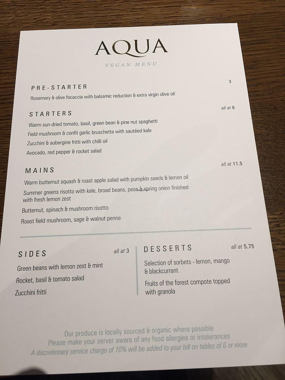"Photo of Aqua  by <a href=""/members/profile/PhilVella"">PhilVella</a> <br/>vegan menu April 2018 <br/> April 26, 2018  - <a href='/contact/abuse/image/102585/391112'>Report</a>"