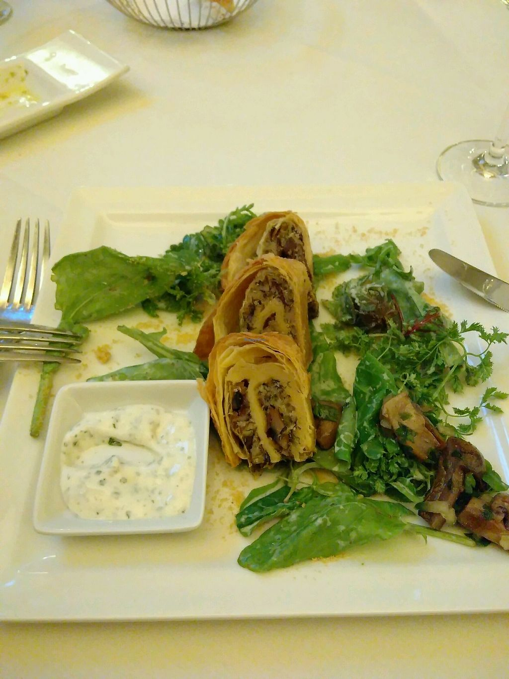"""Photo of Ringhotel Nassau-Oranien  by <a href=""""/members/profile/UDth"""">UDth</a> <br/>Waldpilzstrudel mit Dip und gebratenen Champignons auf Salat <br/> October 16, 2017  - <a href='/contact/abuse/image/102587/315951'>Report</a>"""
