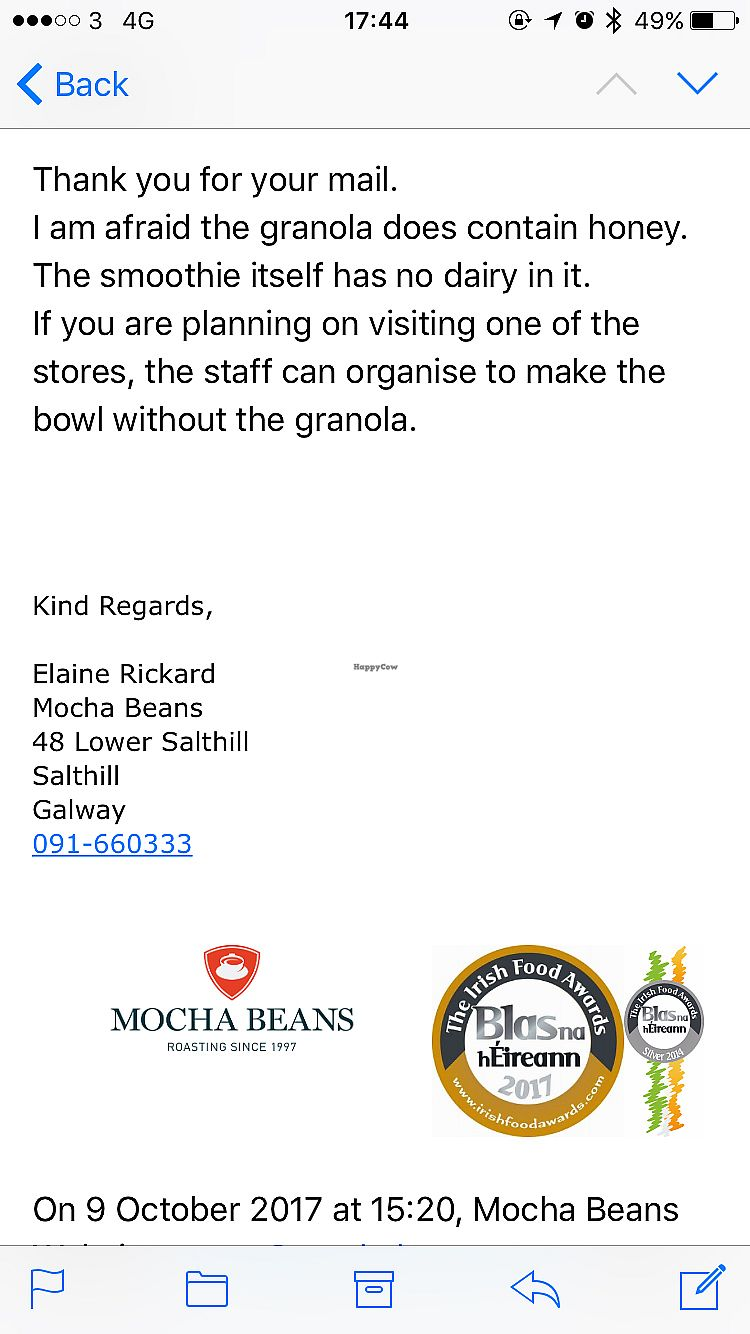 """Photo of Mocha Beans  by <a href=""""/members/profile/AvrilTkd"""">AvrilTkd</a> <br/>Hey just so everyone knows! I was wondering if the smoothie bowl is vegan without the honey on top but unfortunately it's not ? <br/> October 10, 2017  - <a href='/contact/abuse/image/102626/314017'>Report</a>"""