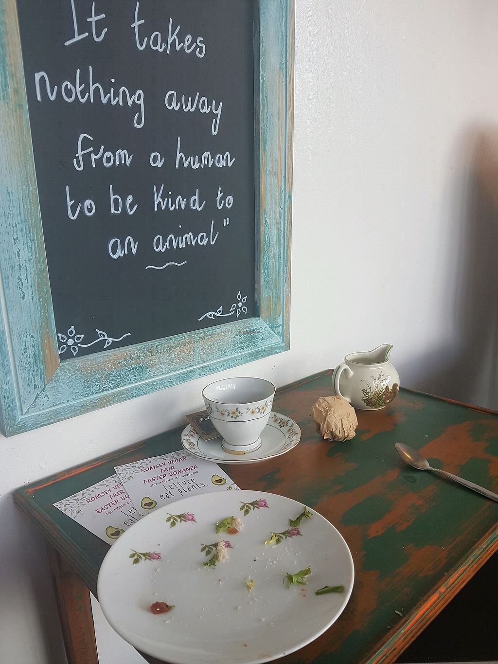 """Photo of Paula's Vegan Bakery  by <a href=""""/members/profile/Orlagh"""">Orlagh</a> <br/>An empty plate and inspirational quote... what more would you want? <br/> March 7, 2018  - <a href='/contact/abuse/image/102653/367720'>Report</a>"""