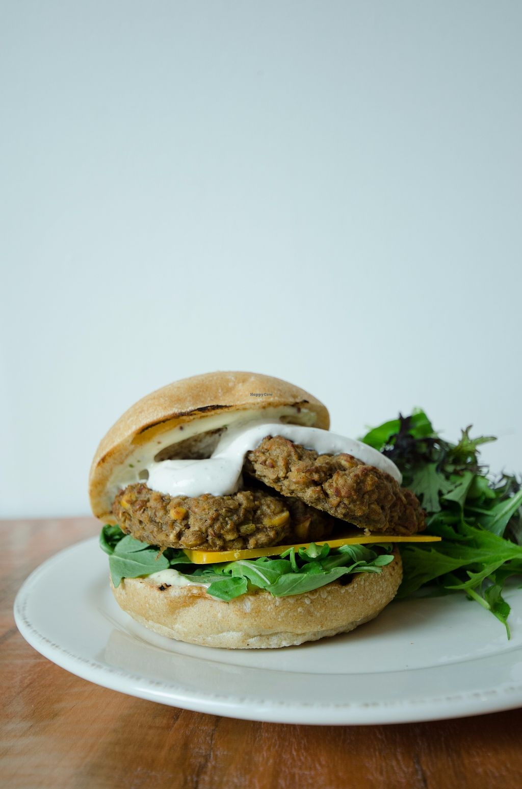 """Photo of FARMR  by <a href=""""/members/profile/FARMR"""">FARMR</a> <br/>Lentil & chickpea fritter sandwich, with garlic tahini dressing <br/> October 11, 2017  - <a href='/contact/abuse/image/102711/314136'>Report</a>"""