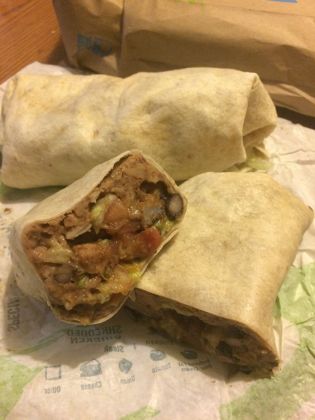 """Photo of Taco Bell  by <a href=""""/members/profile/fruitiJulie"""">fruitiJulie</a> <br/>Vegan burrito $4 <br/> April 30, 2018  - <a href='/contact/abuse/image/102726/392804'>Report</a>"""