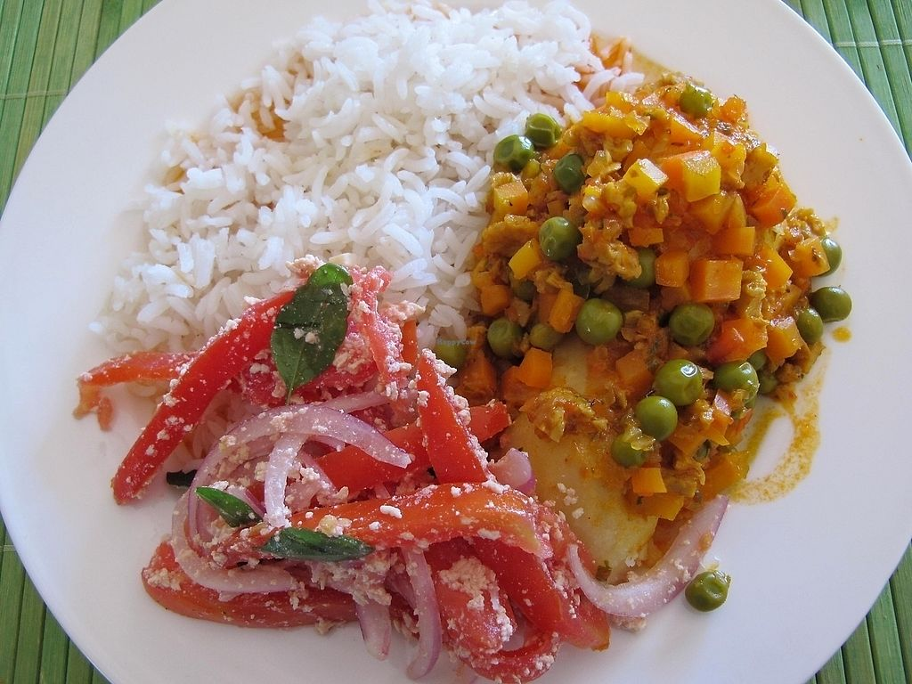 "Photo of Karott Proveedora Catering and Restaurante Vegano  by <a href=""/members/profile/dd.boa7"">dd.boa7</a> <br/>a typical Bolivian dish named Saice. Rice with vegan meat, peas, vegetables and tomatoes with onions that are sprinkled with vegan cheese <br/> March 17, 2018  - <a href='/contact/abuse/image/102778/371998'>Report</a>"