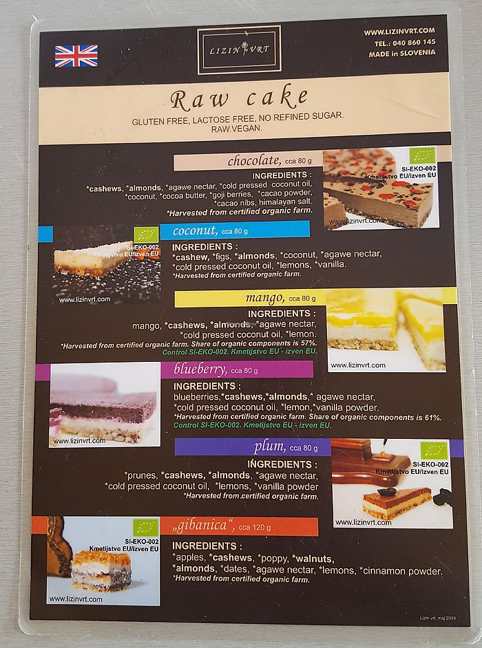 """Photo of Caffe Teater  by <a href=""""/members/profile/Seiashun"""">Seiashun</a> <br/>Raw cake menu <br/> October 14, 2017  - <a href='/contact/abuse/image/102793/315083'>Report</a>"""