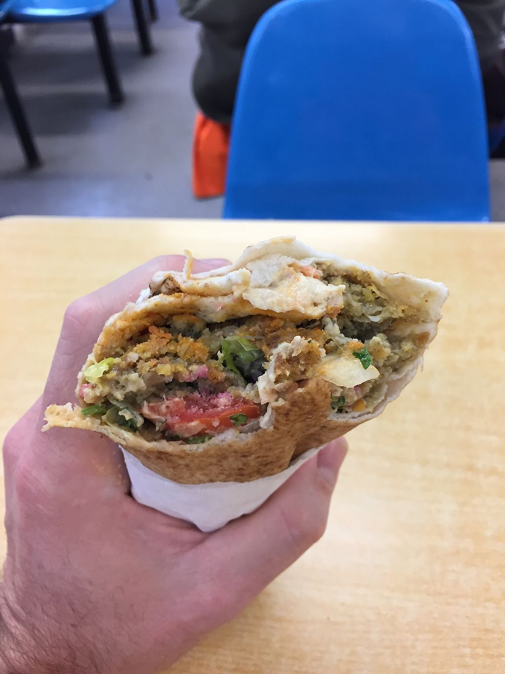 """Photo of Falafel Hummos and Salad Wrap  by <a href=""""/members/profile/DanielBrunt"""">DanielBrunt</a> <br/>A couple of bites in, this is delicious!  <br/> October 13, 2017  - <a href='/contact/abuse/image/102794/314864'>Report</a>"""