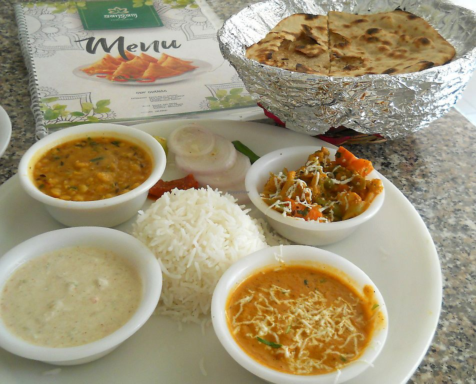 """Photo of Sangam Sweets  by <a href=""""/members/profile/Masala-Dosa"""">Masala-Dosa</a> <br/>""""Normal Thali"""" (plus papad, not on the picture) <br/> October 15, 2017  - <a href='/contact/abuse/image/102799/315426'>Report</a>"""