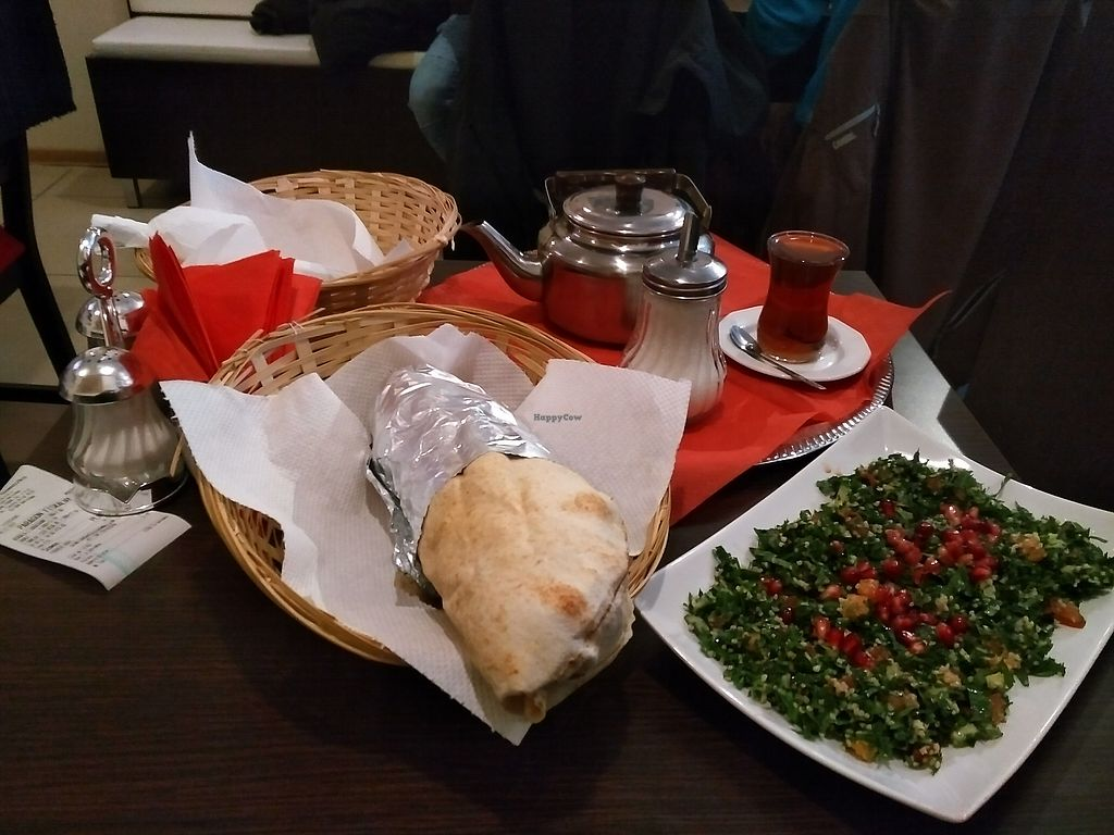 "Photo of Niedaleko Damaszku  by <a href=""/members/profile/Ryecatcher"">Ryecatcher</a> <br/>Tabbouleh + wrap + tea <br/> December 23, 2017  - <a href='/contact/abuse/image/102857/338229'>Report</a>"