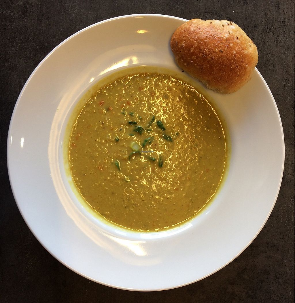 "Photo of Cafe Grau  by <a href=""/members/profile/Carissima"">Carissima</a> <br/>Curried red lentil-coconut soup and a freshly baked roll <br/> October 26, 2017  - <a href='/contact/abuse/image/102866/319003'>Report</a>"
