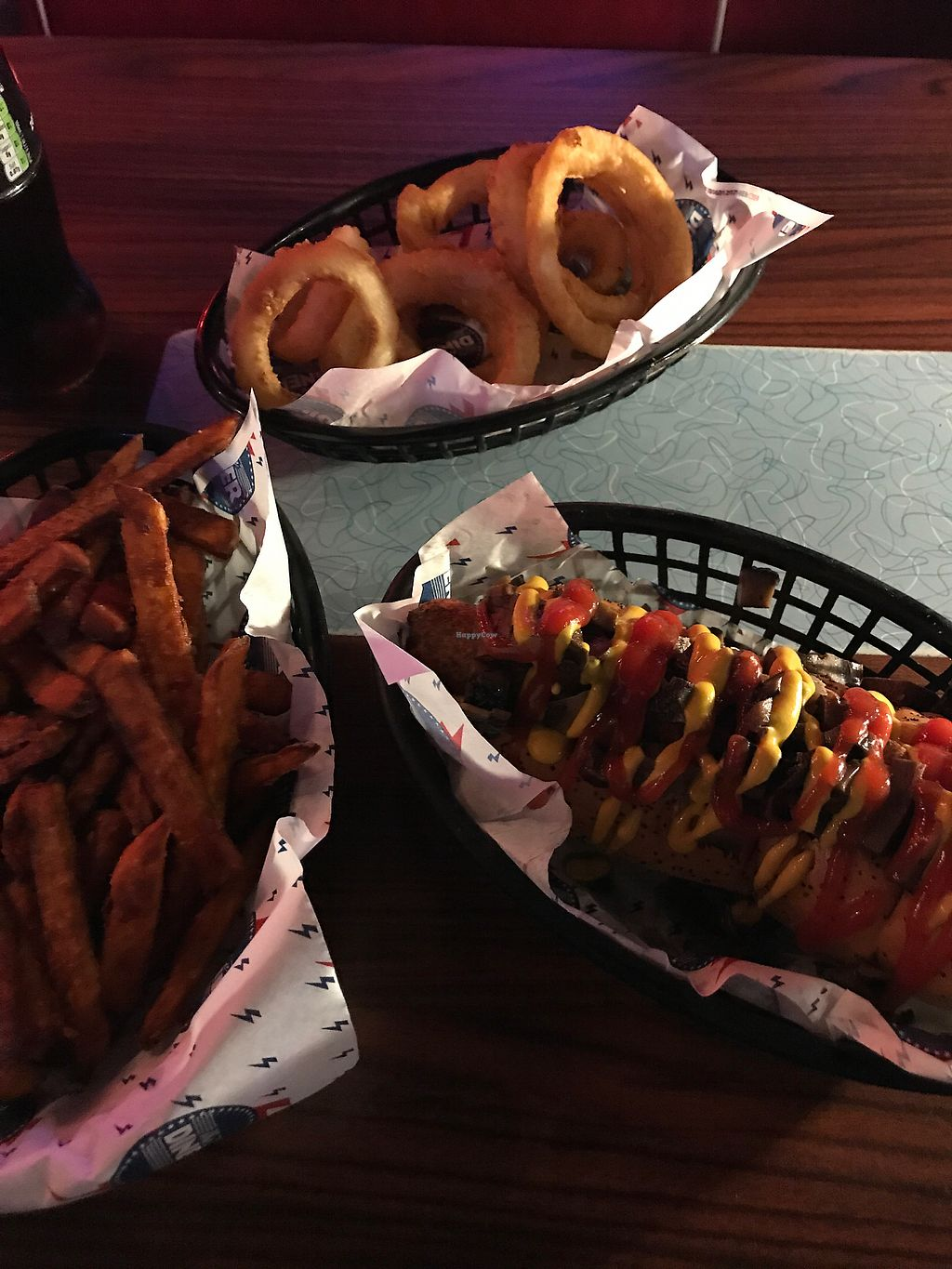 "Photo of CLOSED: The Diner - Covent Garden  by <a href=""/members/profile/PhilWheeler"">PhilWheeler</a> <br/>Veggie Dog, Sweet Potato Fries and Onion Rings (Ve) <br/> December 6, 2017  - <a href='/contact/abuse/image/102870/332921'>Report</a>"