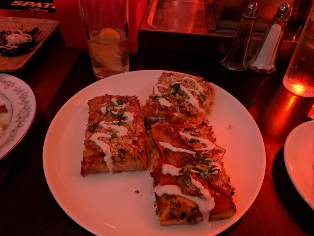 "Photo of Strange Town  by <a href=""/members/profile/dmgriffin"">dmgriffin</a> <br/>Vegan Sicilian Pizza with Creamy Cashew Cheese <br/> December 27, 2017  - <a href='/contact/abuse/image/102893/339650'>Report</a>"