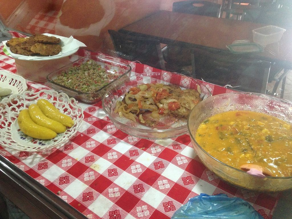 """Photo of Comedor Vegetariano Salud Integral  by <a href=""""/members/profile/Stubler"""">Stubler</a> <br/>Home cooked dishes vary daily, All dishes shown in buffet are vegan options of Nica staples! <br/> October 15, 2017  - <a href='/contact/abuse/image/102923/315516'>Report</a>"""