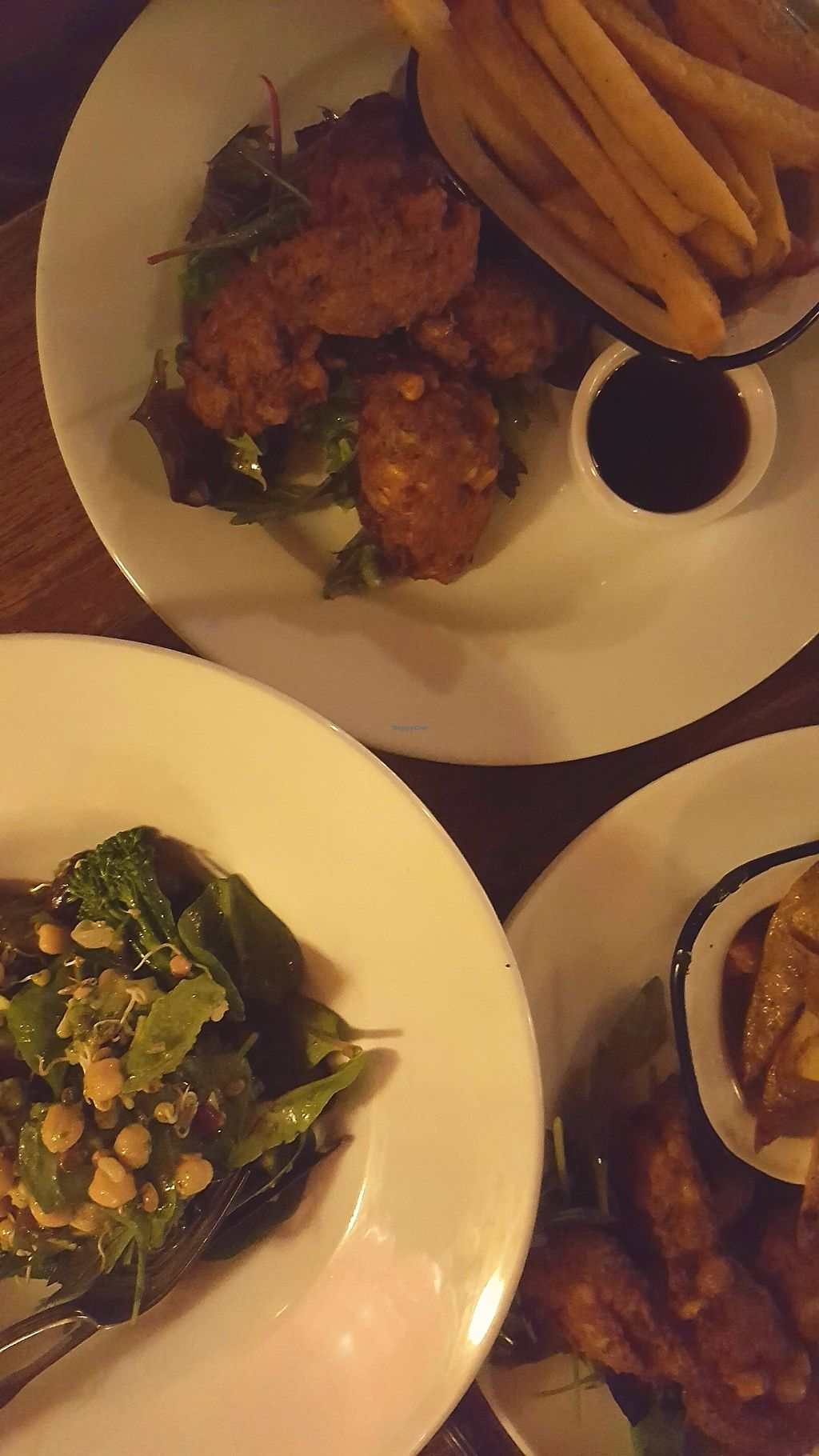 """Photo of Kings Arms  by <a href=""""/members/profile/VeganAnnaS"""">VeganAnnaS</a> <br/>Chickpea, sweetcorn and courgette fritters and the avocado and tenderstem broccoli salad  <br/> October 14, 2017  - <a href='/contact/abuse/image/102934/315207'>Report</a>"""