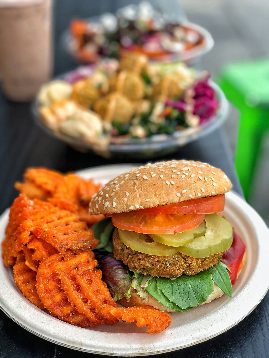 """Photo of The Hummus Republic  by <a href=""""/members/profile/JordynWeekly"""">JordynWeekly</a> <br/>Vegan Earth burger  <br/> February 14, 2018  - <a href='/contact/abuse/image/102951/359400'>Report</a>"""