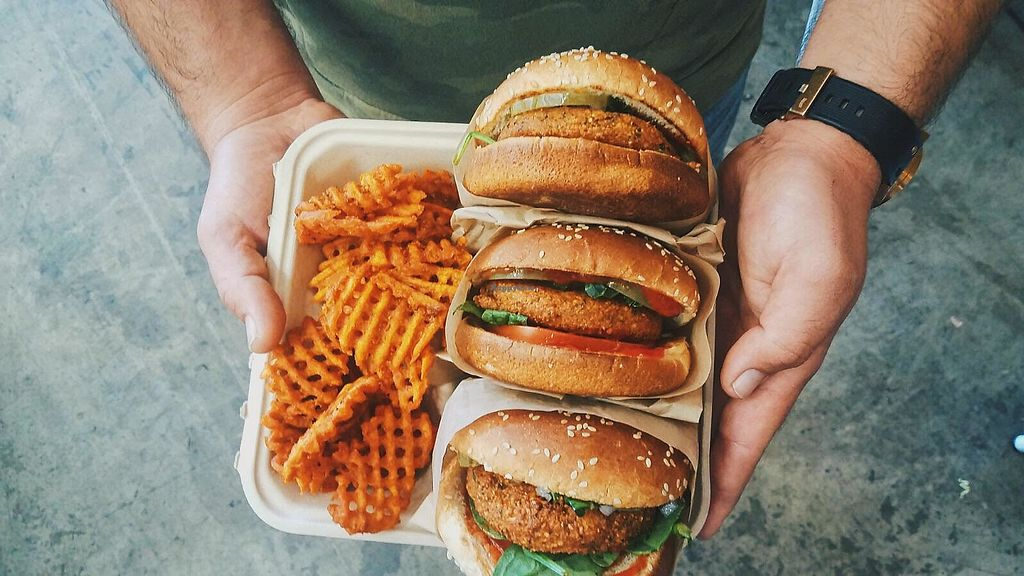 """Photo of The Hummus Republic  by <a href=""""/members/profile/JordynWeekly"""">JordynWeekly</a> <br/>Earth burger <br/> February 14, 2018  - <a href='/contact/abuse/image/102951/359403'>Report</a>"""