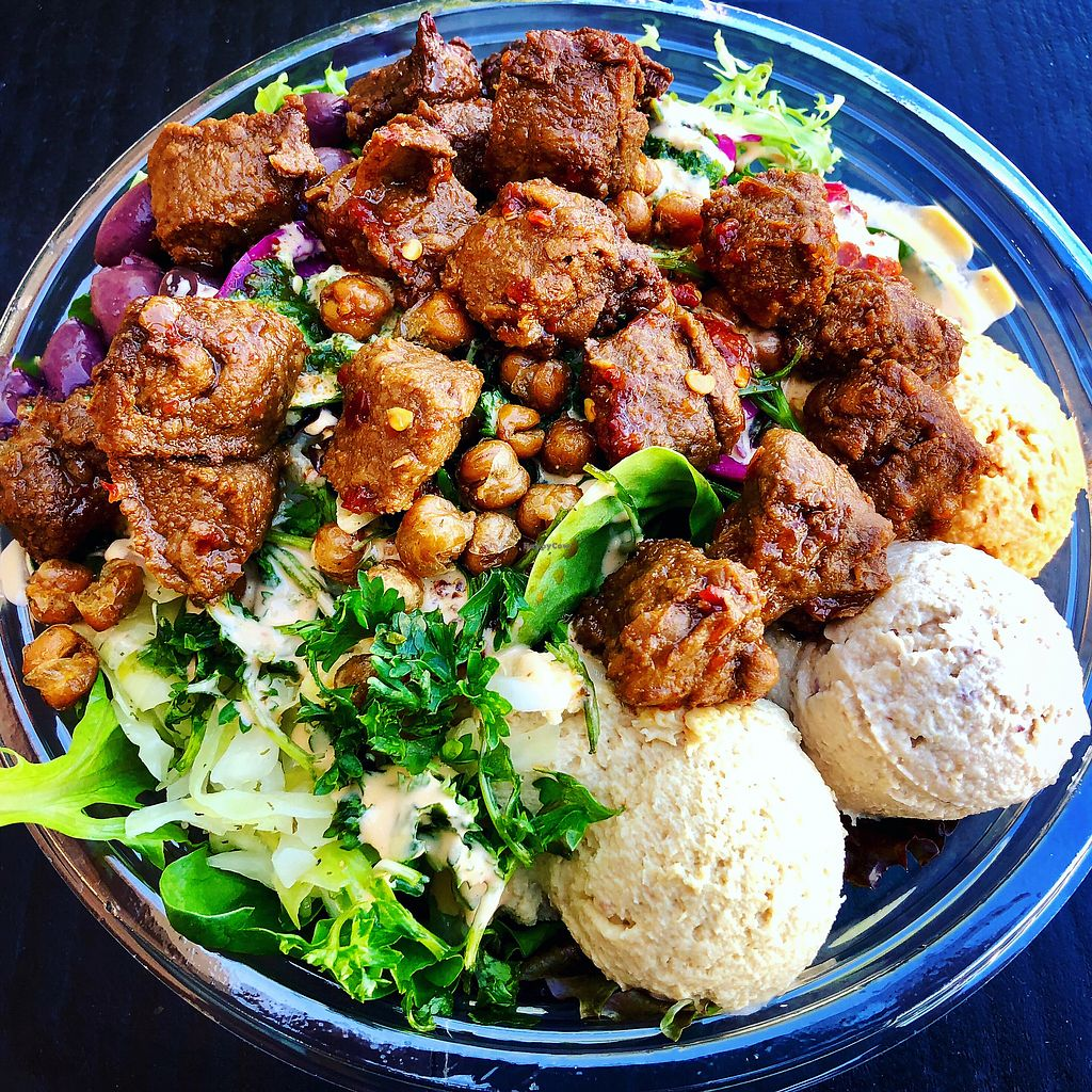 """Photo of The Hummus Republic  by <a href=""""/members/profile/josephsuar"""">josephsuar</a> <br/>Vegan Beef & Hummus Salad <br/> March 10, 2018  - <a href='/contact/abuse/image/102951/369055'>Report</a>"""
