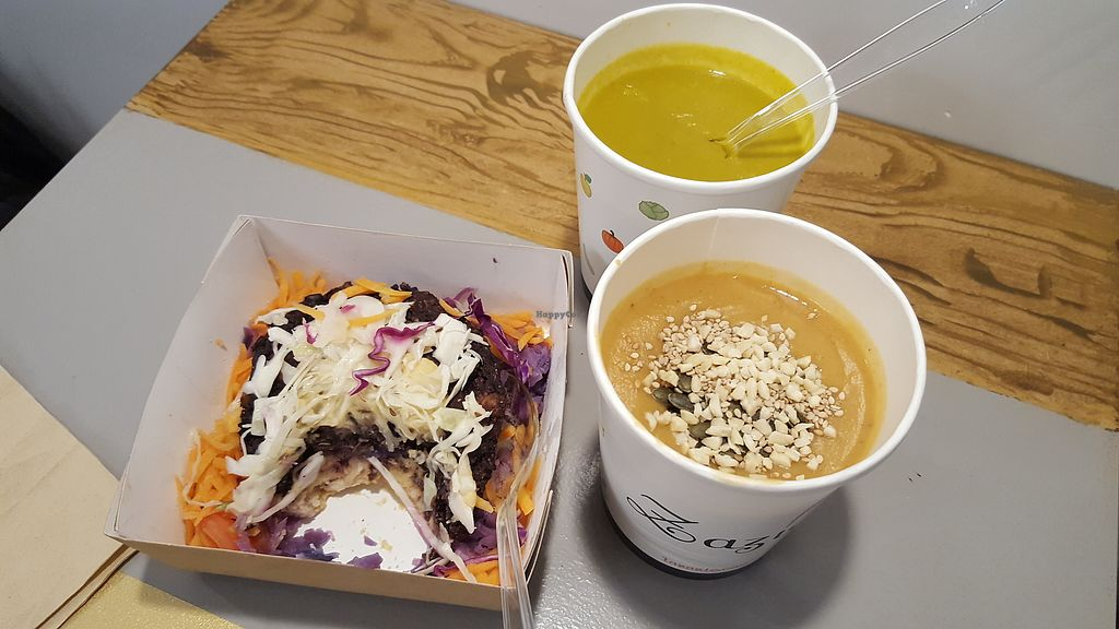 """Photo of Zazie Borgo Pio  by <a href=""""/members/profile/spunkiVeg"""">spunkiVeg</a> <br/>Veggie burger (slice eaten) and 2 kinds of soup (toppings on one). All vegan and gf <br/> January 14, 2018  - <a href='/contact/abuse/image/102988/346666'>Report</a>"""