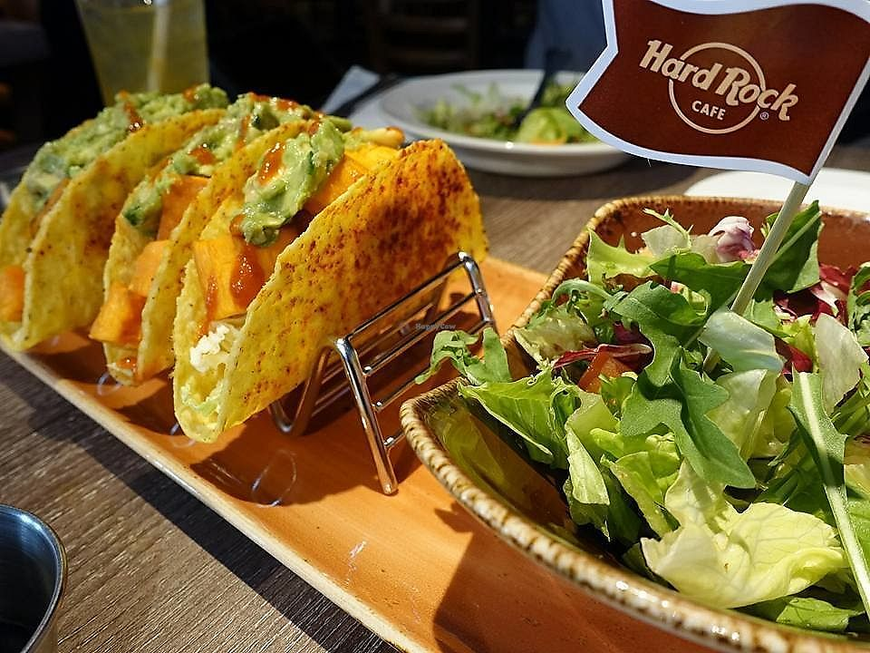 """Photo of Hard Rock Cafe - Orchard  by <a href=""""/members/profile/JimmySeah"""">JimmySeah</a> <br/>Veganised version of Tacos, no garlic no onion  <br/> November 7, 2017  - <a href='/contact/abuse/image/102996/322955'>Report</a>"""