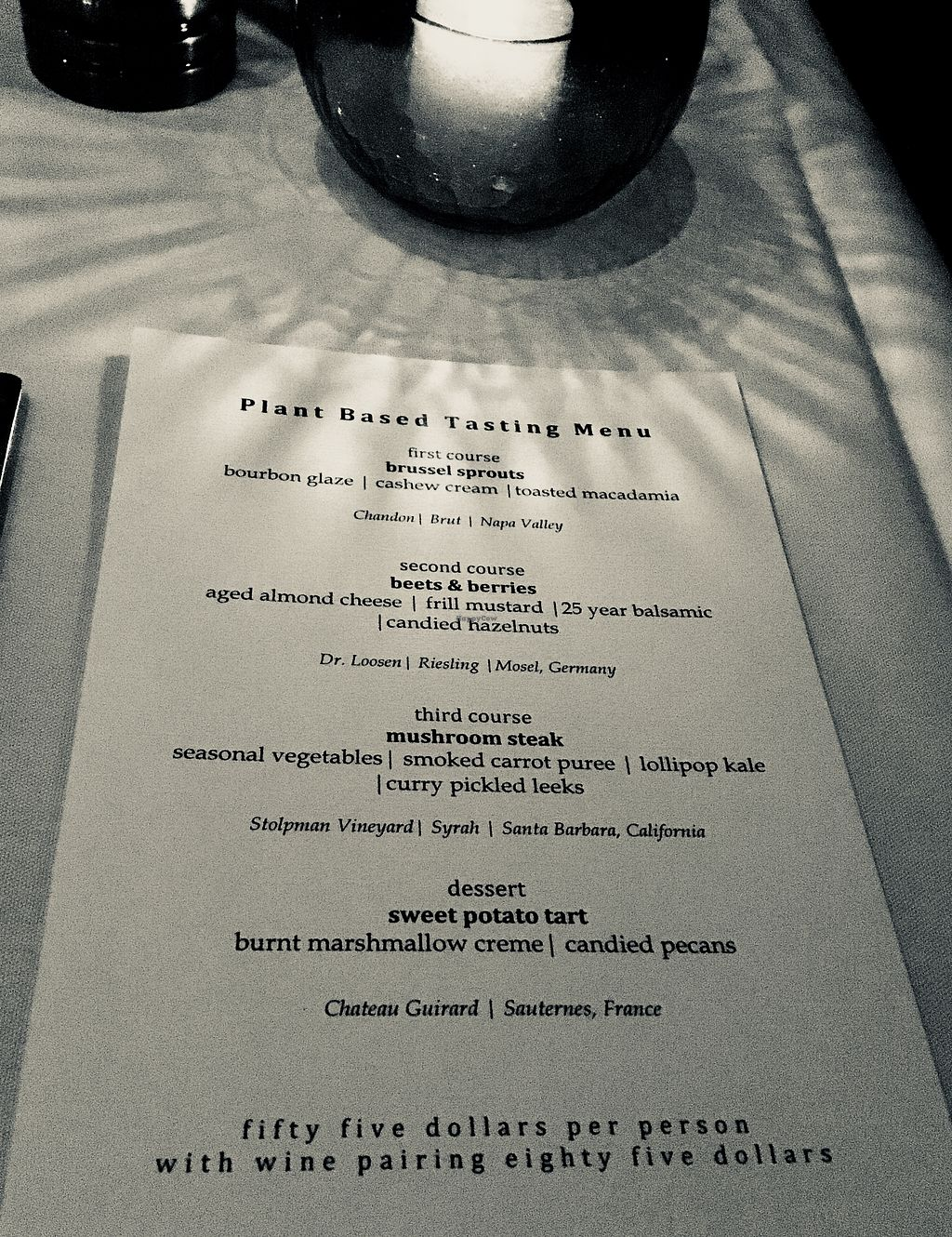 """Photo of California Market at Pacific's Edge  by <a href=""""/members/profile/Clean%26Green"""">Clean&Green</a> <br/>Plant based tasting menu (fancy!) <br/> January 17, 2018  - <a href='/contact/abuse/image/103003/347436'>Report</a>"""