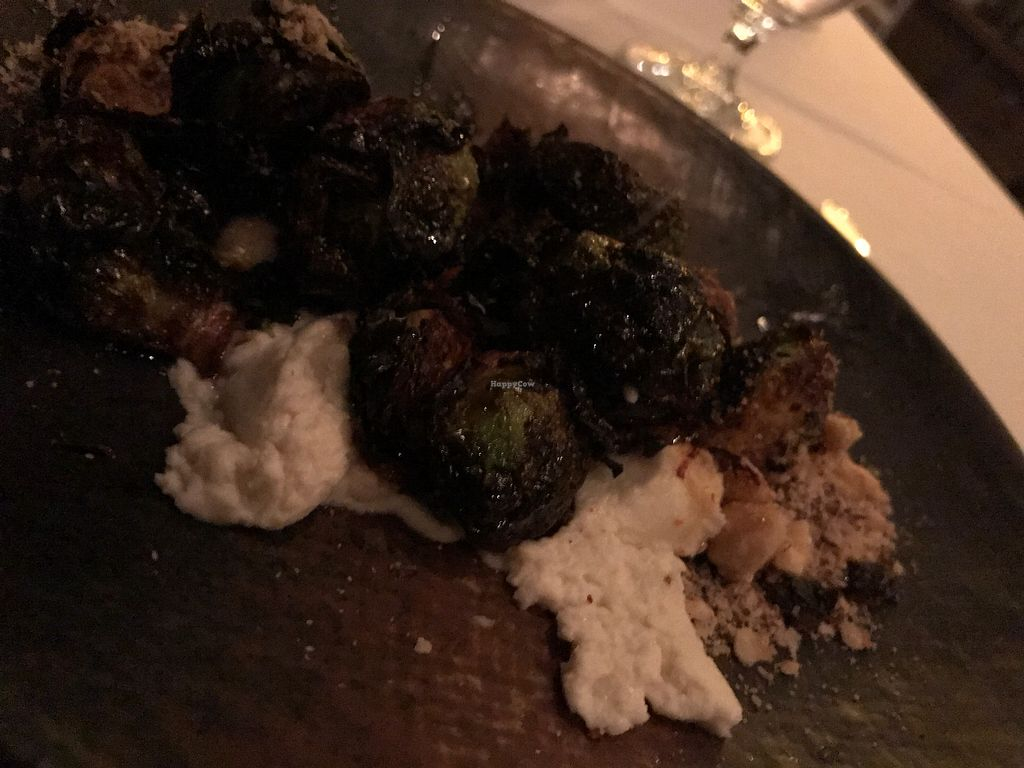 """Photo of California Market at Pacific's Edge  by <a href=""""/members/profile/Clean%26Green"""">Clean&Green</a> <br/>Brussel sprouts, bourbon glaze, cashew cream, toasted macadamia  <br/> January 17, 2018  - <a href='/contact/abuse/image/103003/347450'>Report</a>"""