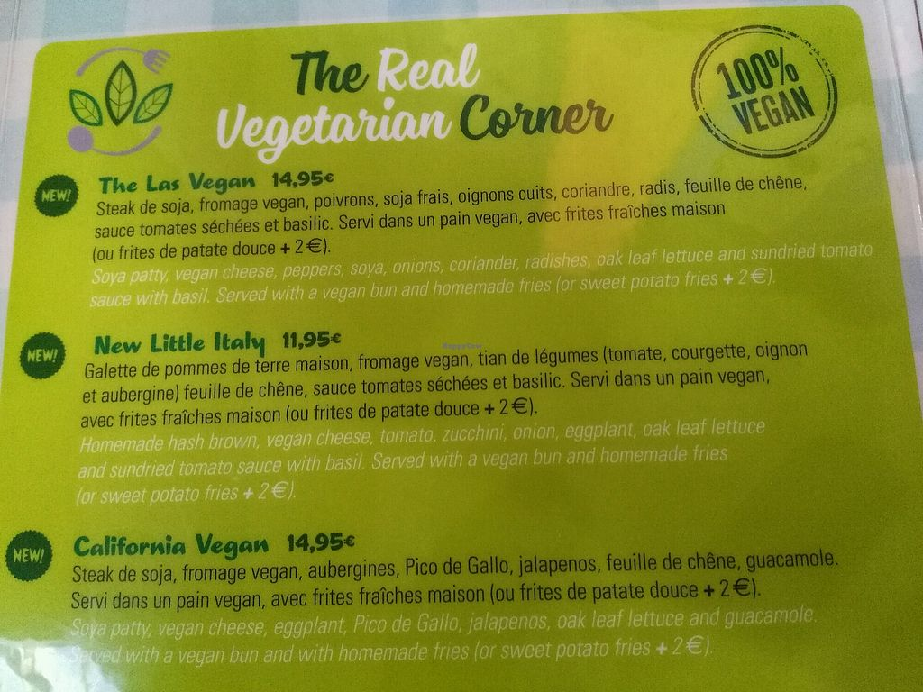 """Photo of HD Diner  by <a href=""""/members/profile/Marion02"""">Marion02</a> <br/>Menu vegan <br/> April 26, 2018  - <a href='/contact/abuse/image/103043/391262'>Report</a>"""