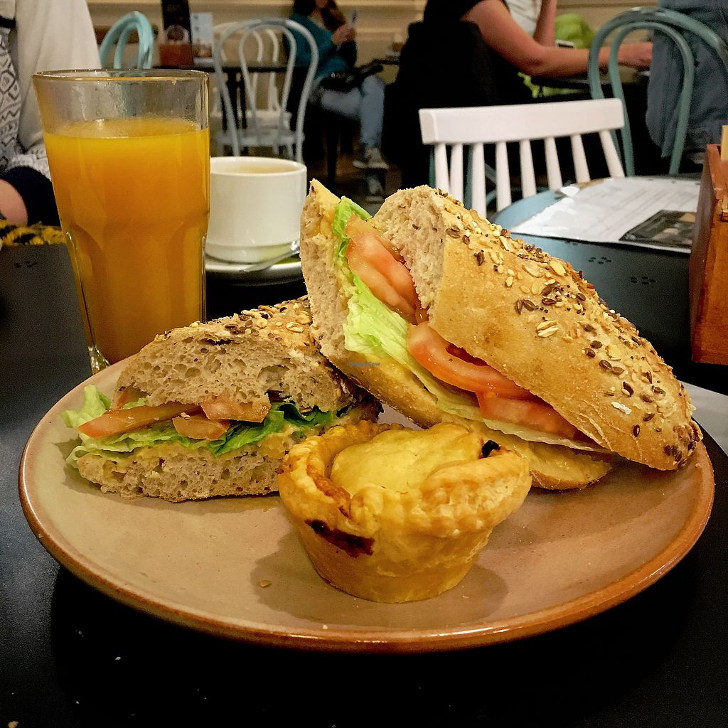 """Photo of Pastelaria Batalha  by <a href=""""/members/profile/BarraCollins"""">BarraCollins</a> <br/>Vegan Meal Deal €8 - Vegan Pie, Hummus Sandwich and Fresh Juice  <br/> April 9, 2018  - <a href='/contact/abuse/image/103109/382852'>Report</a>"""