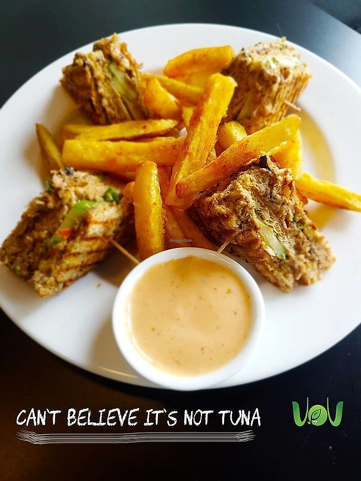 """Photo of The VOV Coffee Lounge  by <a href=""""/members/profile/Chalice777"""">Chalice777</a> <br/>""""Fresh catch"""" sandwich!  Vegan tuna and cucumber sandwich served with our signature hand cut chunky fries and our special blend of sauce <br/> October 20, 2017  - <a href='/contact/abuse/image/103177/316917'>Report</a>"""