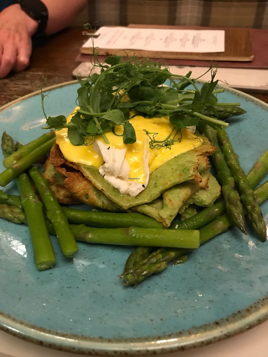 """Photo of The Boathouse  by <a href=""""/members/profile/ChrisSpray"""">ChrisSpray</a> <br/>Pea pancake (this one has an egg added). Home grown spinach, walnut and oat cream sauce <br/> October 29, 2017  - <a href='/contact/abuse/image/103330/319825'>Report</a>"""