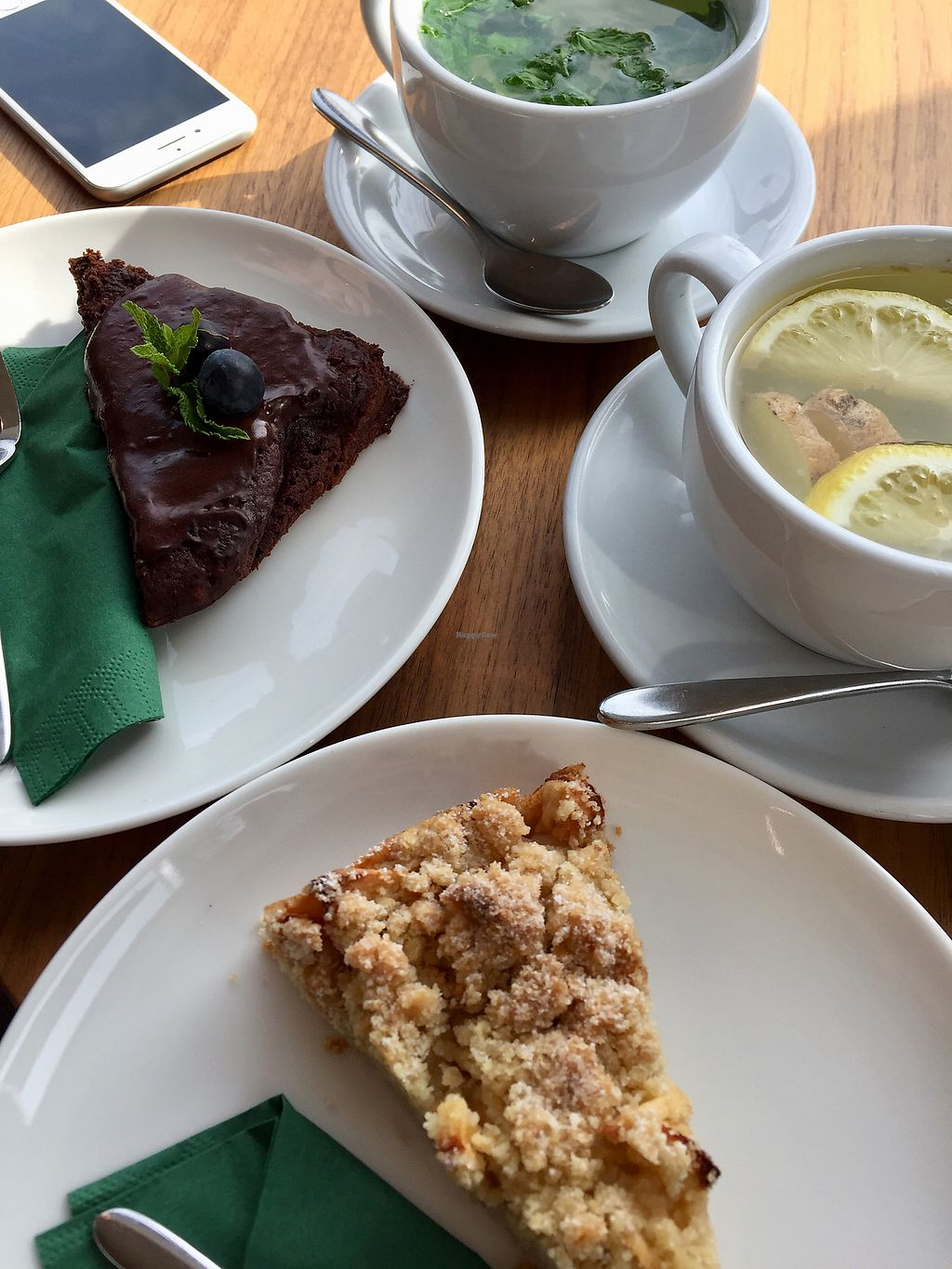 """Photo of Wagners Juicery & Health Food  by <a href=""""/members/profile/allgaeukind"""">allgaeukind</a> <br/>Apple Pie, Brownie, lemon-ginger-Tea and fresh mint-tea  <br/> October 22, 2017  - <a href='/contact/abuse/image/103356/317613'>Report</a>"""
