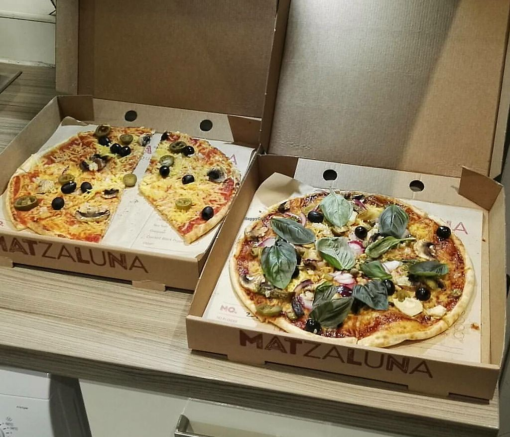 "Photo of Matzaluna Pizza  by <a href=""/members/profile/AlisonMorton"">AlisonMorton</a> <br/>2 x vegan pizzas <br/> October 21, 2017  - <a href='/contact/abuse/image/103372/317394'>Report</a>"