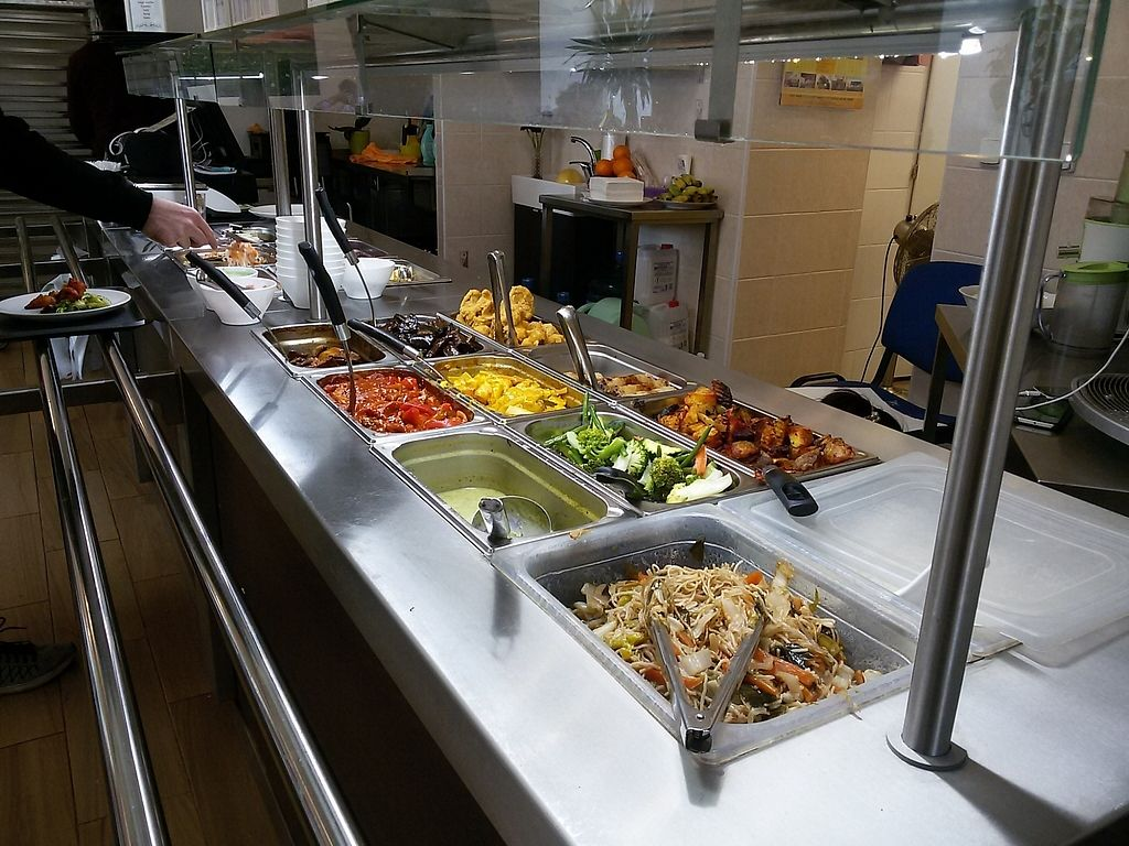 """Photo of Zau Vegetarian  by <a href=""""/members/profile/beingsusan%40yahoo.com"""">beingsusan@yahoo.com</a> <br/>Buffet -- white rice, noodles, potatoes, soup, three main dishes, spring rolls, fried cauliflower <br/> February 25, 2018  - <a href='/contact/abuse/image/103379/363496'>Report</a>"""