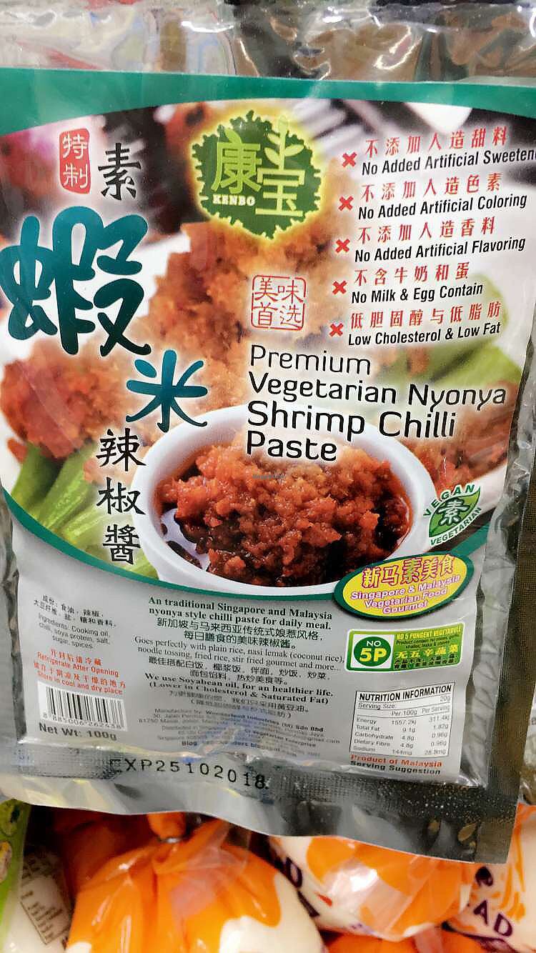 """Photo of Xin Yuan Vegetarian Food Trading  by <a href=""""/members/profile/whollyvegan"""">whollyvegan</a> <br/>vegan shrimp paste  <br/> August 22, 2017  - <a href='/contact/abuse/image/10341/295585'>Report</a>"""