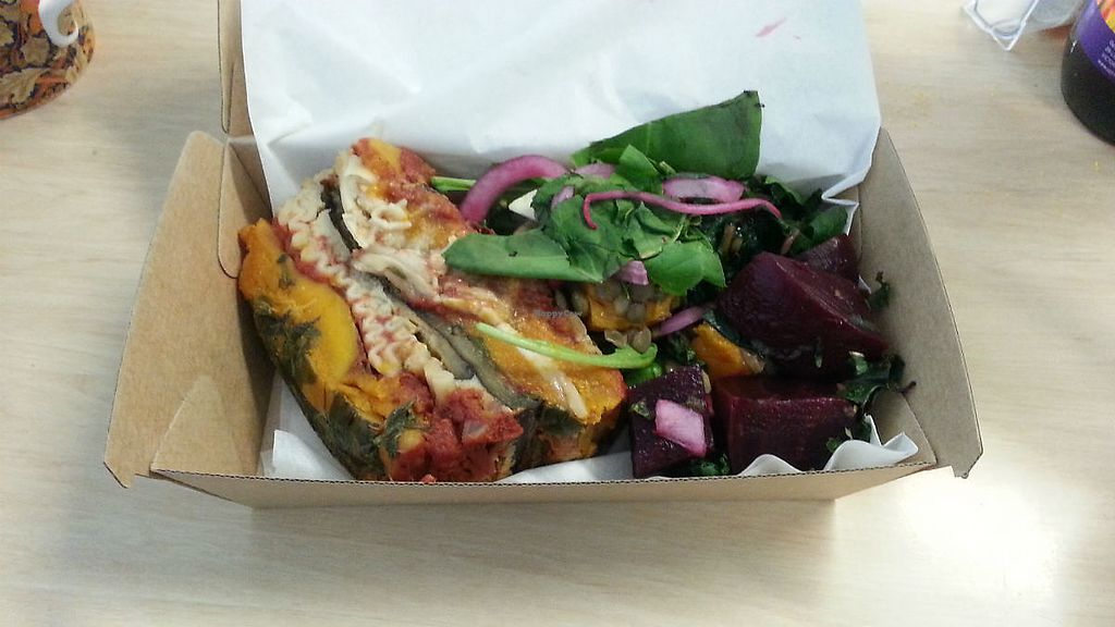 """Photo of The ShoeBox Cafe  by <a href=""""/members/profile/sunsatori"""">sunsatori</a> <br/>Vegan lasagna & salad take away from The ShoeBox Cafe Lismore <br/> November 17, 2017  - <a href='/contact/abuse/image/103464/326345'>Report</a>"""