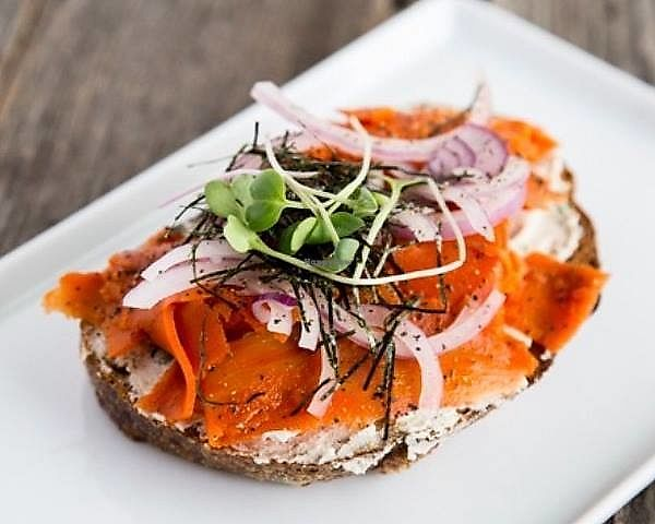 "Photo of Roots + Fruits  by <a href=""/members/profile/EJBC"">EJBC</a> <br/>Carrot Lox and Dill Cashew Cheese served with onions, nori, and microgreens on toasted bread from Fife Bakery <br/> December 12, 2017  - <a href='/contact/abuse/image/103502/335025'>Report</a>"
