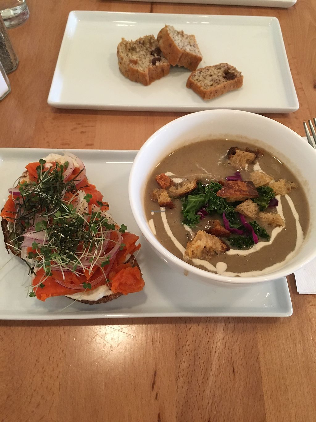 "Photo of Roots + Fruits  by <a href=""/members/profile/Chelseachernobyl"">Chelseachernobyl</a> <br/>Lox carrot toast and cremini mushroom soup  <br/> March 6, 2018  - <a href='/contact/abuse/image/103502/367372'>Report</a>"