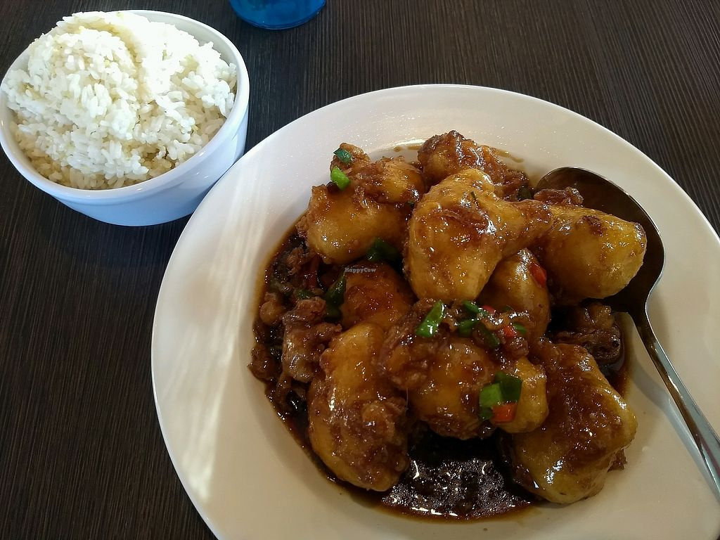 "Photo of VeggiEAT Xpress  by <a href=""/members/profile/JillianDeCausemacker"">JillianDeCausemacker</a> <br/>General Tso's cauliflower & side of rice <br/> February 22, 2018  - <a href='/contact/abuse/image/103584/362213'>Report</a>"