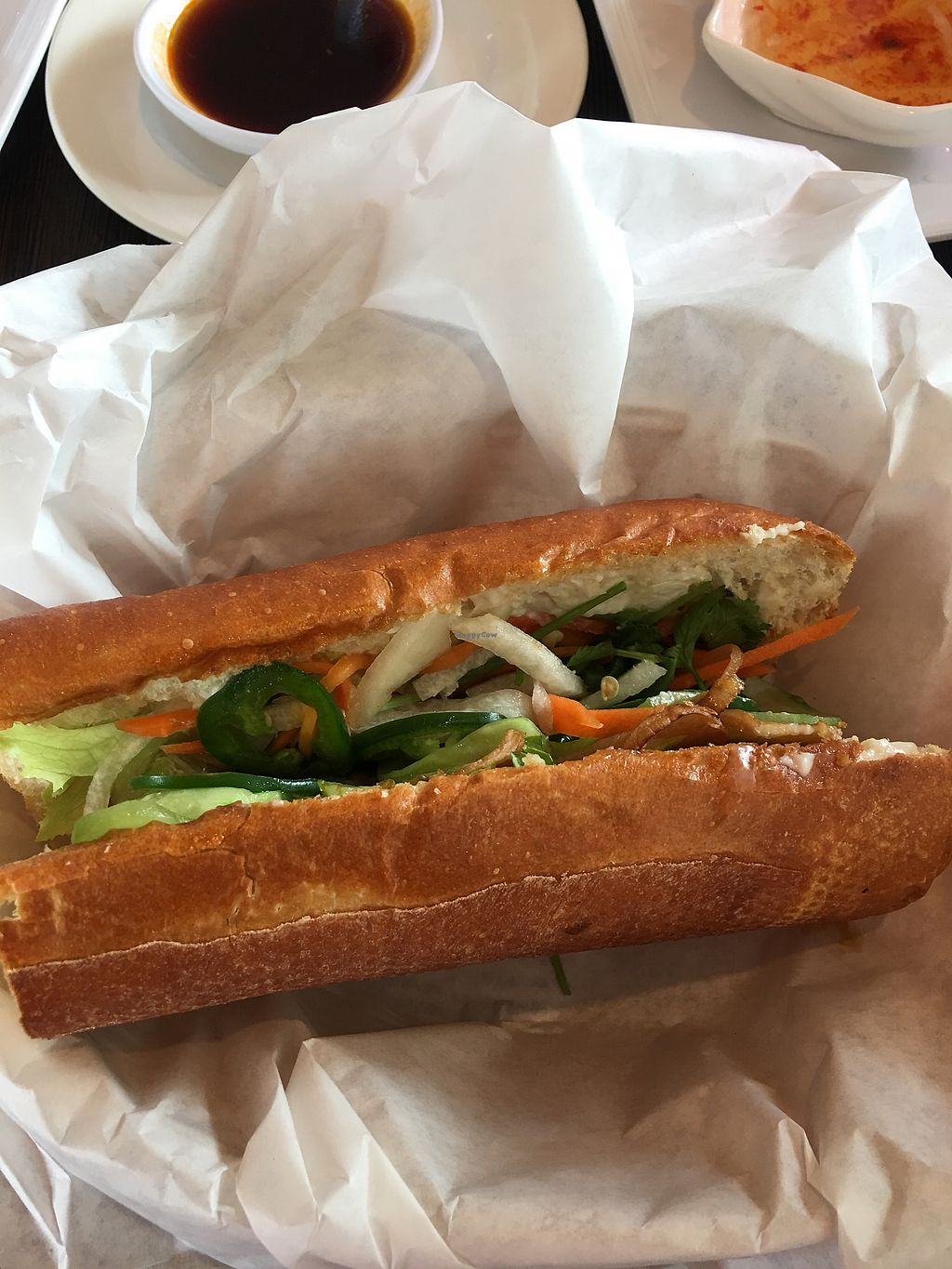 "Photo of VeggiEAT Xpress  by <a href=""/members/profile/lvasquared"">lvasquared</a> <br/>Half a mushroom Banh Mi <br/> March 17, 2018  - <a href='/contact/abuse/image/103584/372083'>Report</a>"