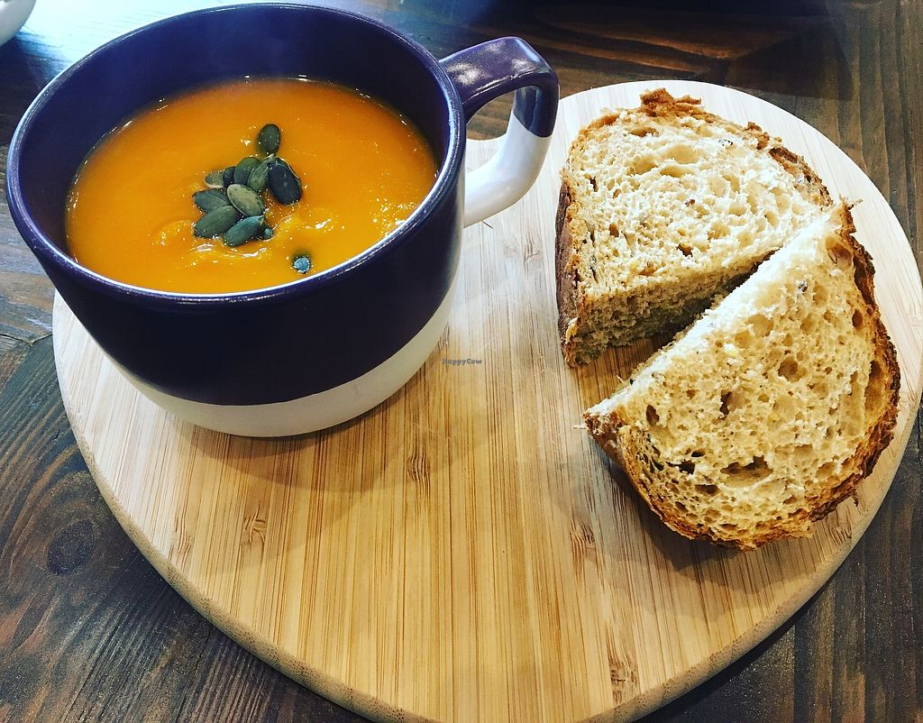 """Photo of Colours Cafe  by <a href=""""/members/profile/DebiDudding"""">DebiDudding</a> <br/>Vegan Sweet potato and red lentil soup  <br/> October 24, 2017  - <a href='/contact/abuse/image/103597/318491'>Report</a>"""