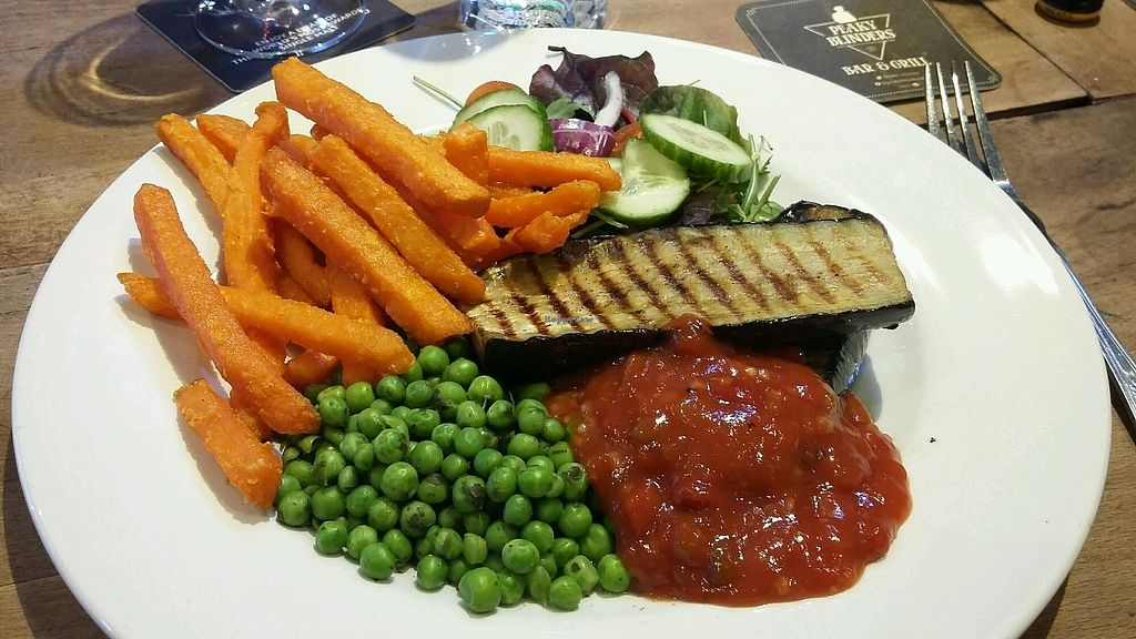 "Photo of Peaky Blinders Bar   by <a href=""/members/profile/Vegan-Vinyl-Avengers"">Vegan-Vinyl-Avengers</a> <br/>Tasty Grilled aubergine steak £8.  28/2/18 <br/> March 1, 2018  - <a href='/contact/abuse/image/103614/365346'>Report</a>"