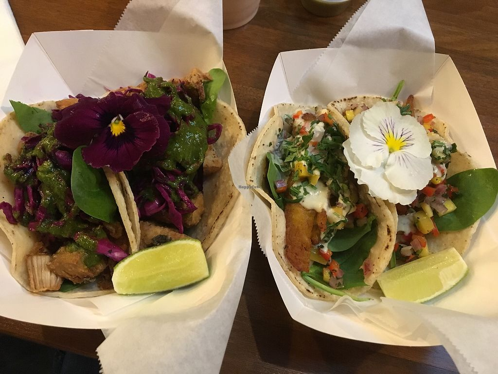 """Photo of Chisme Cantina  by <a href=""""/members/profile/Aufziehvoegelchen"""">Aufziehvoegelchen</a> <br/>Jackfruit and plantain tacos  <br/> February 4, 2018  - <a href='/contact/abuse/image/103615/354974'>Report</a>"""