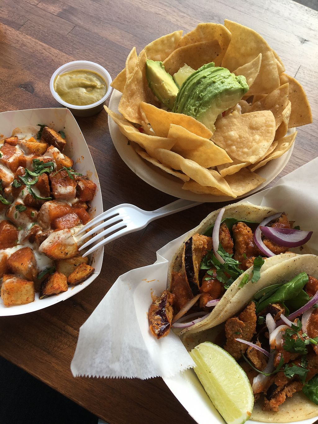 """Photo of Chisme Cantina  by <a href=""""/members/profile/Aufziehvoegelchen"""">Aufziehvoegelchen</a> <br/>Cauliflower ceviche, patatas, eggplant tacos  <br/> February 4, 2018  - <a href='/contact/abuse/image/103615/354975'>Report</a>"""