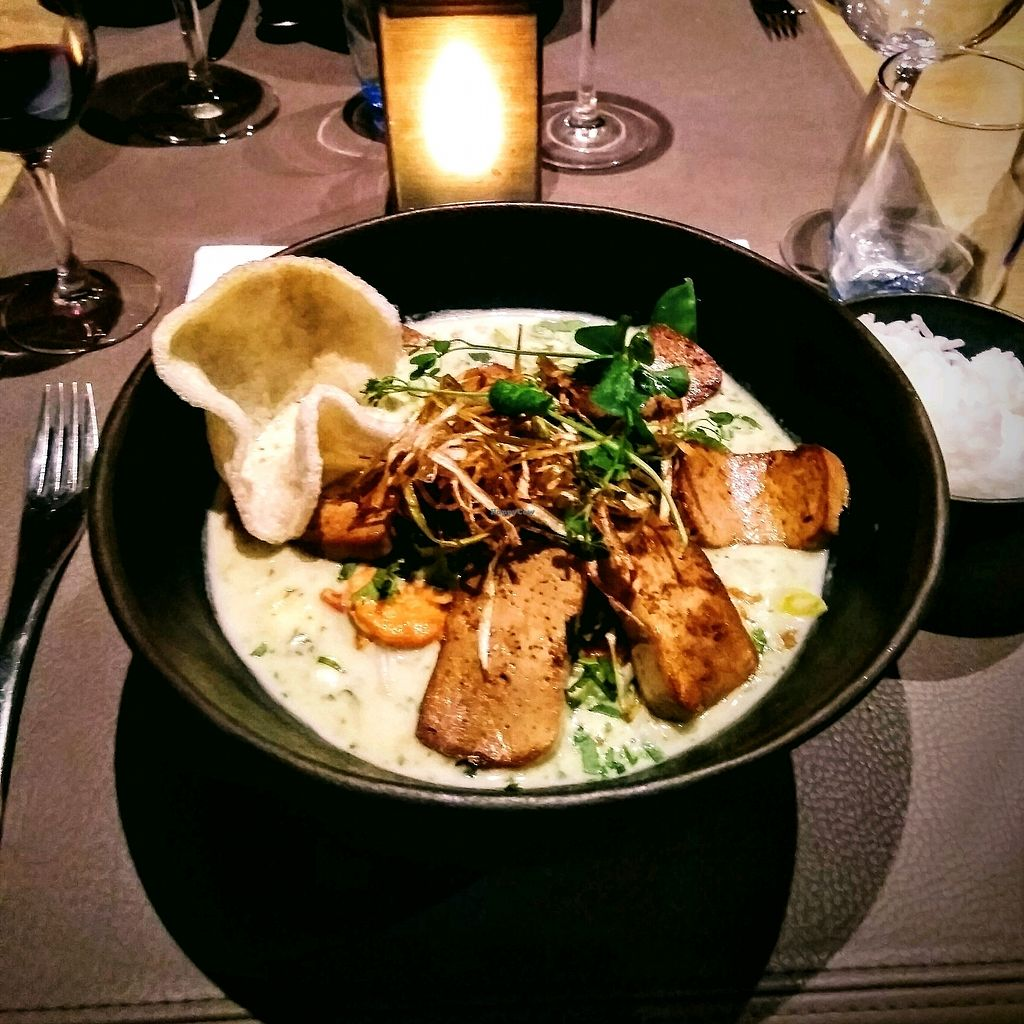 """Photo of Passade  by <a href=""""/members/profile/Zjef"""">Zjef</a> <br/>""""vegan"""" green curry with marinated tofu - the kitchen staff did not realize that the prawn cracker on top was not vegan <br/> February 15, 2018  - <a href='/contact/abuse/image/103631/359759'>Report</a>"""