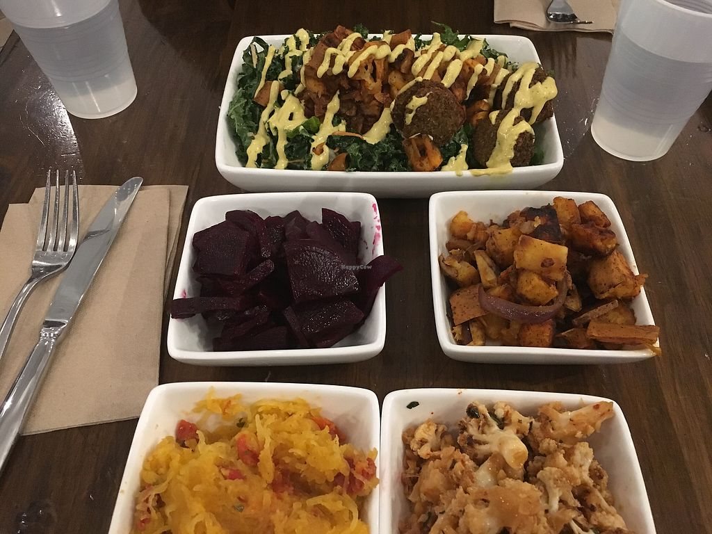 """Photo of Vessel Kitchen  by <a href=""""/members/profile/JulieVegBiker"""">JulieVegBiker</a> <br/>Vegan side dishes and Salad with Falafel  <br/> March 18, 2018  - <a href='/contact/abuse/image/103655/372510'>Report</a>"""