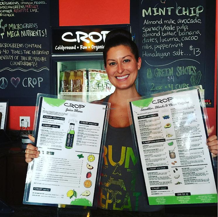 """Photo of Crop Juice - Gulf Gate Dr  by <a href=""""/members/profile/CROPjuice"""">CROPjuice</a> <br/>Katelyn with our menus! <br/> October 25, 2017  - <a href='/contact/abuse/image/103679/318837'>Report</a>"""
