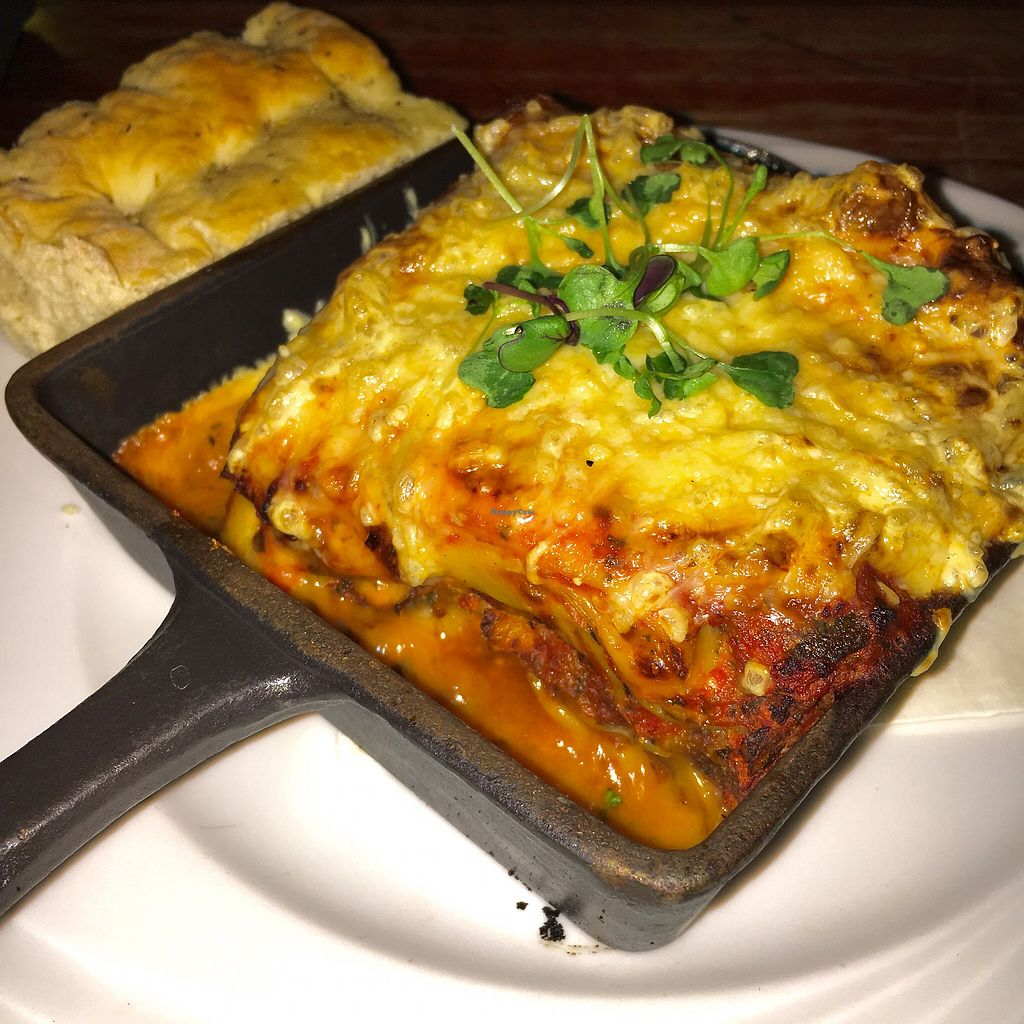 """Photo of Virgin Oil Co  by <a href=""""/members/profile/SeitanSeitanSeitan"""">SeitanSeitanSeitan</a> <br/>Tasty vegan lasagne with pulled broad beans, bechamel and cheese <br/> October 26, 2017  - <a href='/contact/abuse/image/103690/318982'>Report</a>"""